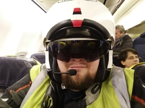 This Polish guy decided to go to Malaga Spain by Ryanair flight to rent a motorbike and take some motorcycle trips To save on extra baggage fees he boarded his flight wearing the full motorcycle suit and helmet Here is the picture from his trip