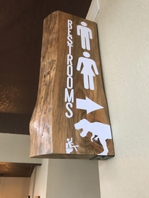 This restroom sign at a local brewery