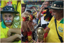 This sad Brazilian fan was shown crying But no ones published this beautiful picture of him handing the trophy to a German fan He was quoted as saying Take it to the final As you can see it is not easy but you deserve it congratulations x-post rpics