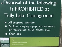 This sign at our campground