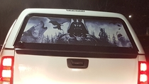 This Star Wars  northern scenery  shark decal on a truck