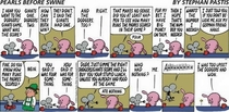 This Sundays Pearls Before Swine strip was effectively a modern Whos On First