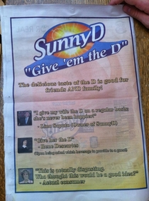 This Sunny D ad was on the back of a news paper I found on campus