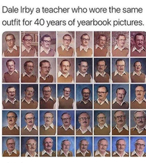 This teacher had the same shirt for  yearbook pictures