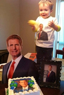 This toddler loves the ads for a local personal injury lawyer so much his mom made it his birthday party theme