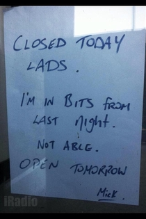 This was spotted on a shop door in Galway Ireland the day after Paddys day