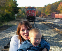 This was supposed to be a cute photo op of my wife and son at the train yard