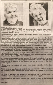 This womans obituary Hamilton Spectator proves that in death she is funnier than I am in life