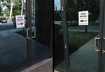 This years prank Our two employee entrances are about  yards apart