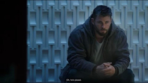 Thor looks like he is waiting to get called to the stage of a Detroit battle rap and he cant stop thinking about the spaghetti his mom made
