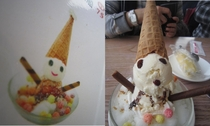 Thought a cute ice cream snowman would top off our meal nicely