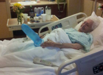 Three broken ribs yet Grandma still knows how to keep her spirits up during hard times