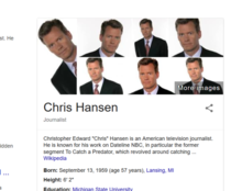 TIL Googles photo summary for Chris Hansen just the same picture over and over