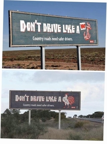 To carry on from the W anchor post We have these signs on the highways in Australia