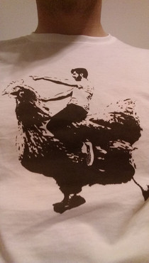 To the guy that shopped himself riding a chicken  weeks ago Your on my shirt now and chicks dig it