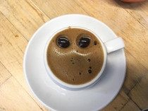 Today my coffee was staring at me