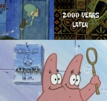 Today Squidward will lock himself in the freezer to see the wonders of the future