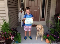 Today was my little brothers first day of preschool and our Labrador isnt too happy about it