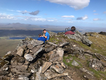 Today we met a guy who is attempting to carry a wheelbarrow up every single Munro mountain in Scotland This is his th out of  A Munro is any Scottish mountain above ft m