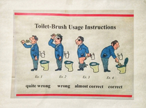 Toilet brush usage instructions in every toilet in my office