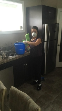 Told my mom I was hosting a party She came over fully equipped to take out  of germs and any other piece of matter in my house hold before she would let any other human come into contact with any surface or even the air in this shit hole I had a few dishe