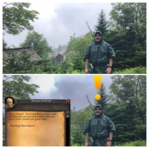 Took a pic of my brother in the Smoky Mountains - He looks like a starter zone NPC Quest Giver