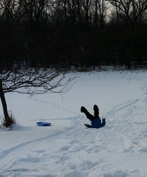 Took my boys sledding My youngest isnt very good at it