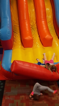 Took my daughter to a local bouncing house for her birthday Shes the one in the pink and orange socks