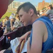 Took my son to a baseball game tonight He comes back with a footlong hot dog and says to me I got a big weiner lol to be an  year old boy