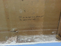 Took the medicine cabinet out so I could paint the wall found this message from the past