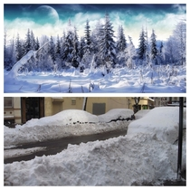 Top what snow looks like to a southerner Bottom what snow looks like to a northerner