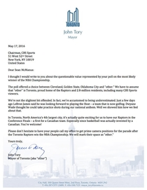 Toronto Mayors response to CBS sports after Torontos basketball team was listed as other