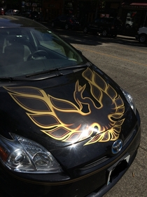 Trans Am bird on hood of a Prius