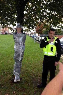 Tree holds man hostage in small English town