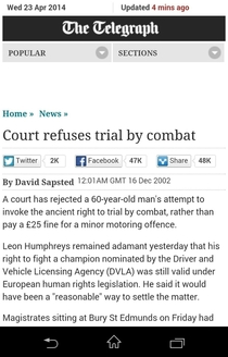 Trial by combat link to story in comments