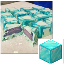 Tried to make Minecraft diamond block bonbons