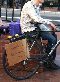 Trojan was giving away free vibrators in Downtown Portland today This guy was camped outside the line and had the right idea X-post rportland