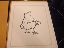 True to his word Jim Benton mailed me a drawing of a shaved albino testicle