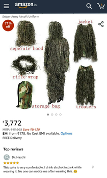 Turns out there are others uses of a ghillie suit
