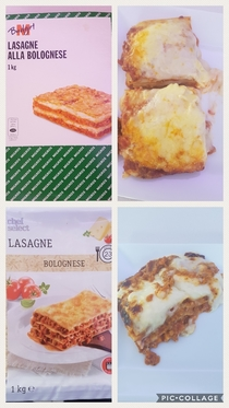Two different brands of lasagne bolognese