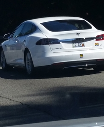 Two sweet old ladies driving a Tesla with equalityrainbow stickers and that license plate