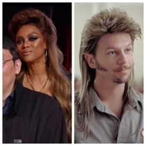 Tyras hair straight up looking like Joe Dirt