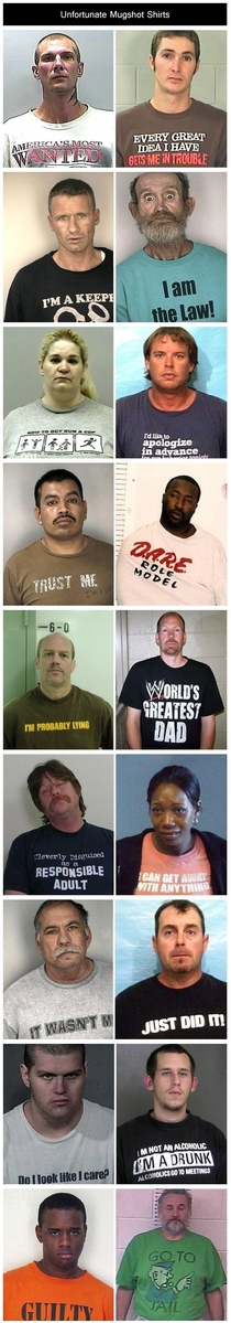 Unfortunate shirts to wear for mugshots