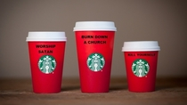 Upon closer inspection I kinda get why Christians are upset about the new Starbucks holiday cups
