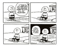 Valentines Day Peanuts strip from  by Charles Schulz