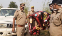 Villagers called the police thinking iron-man balloon was an alien