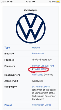 Volkswagen we are proudly founded by oh wait