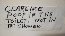 Walked into my grandfathers bathroom and saw this on the wall His name is Clarence