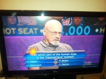 Walter White was on Who Wants To Be A Millionaire yesterday