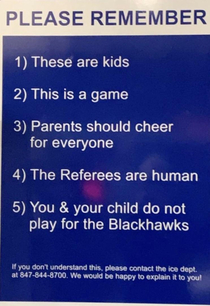 Was At my  year olds ice hockey game today and saw this sign